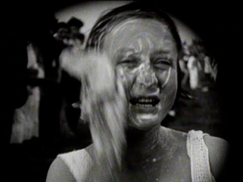 Boys and girls bathe and brush their teeth at Whitsun