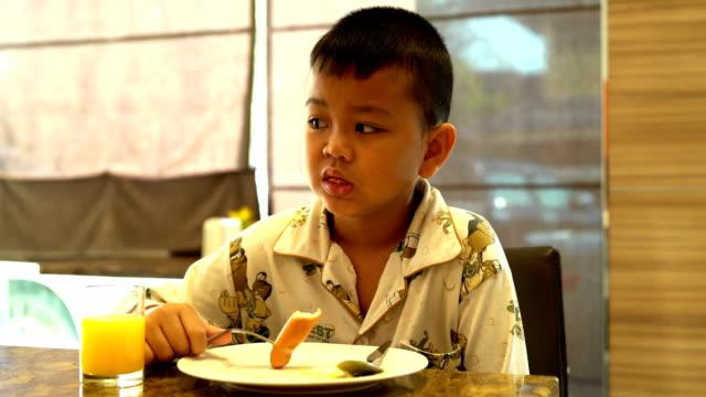 boys eat breakfast - lunch stock videos & royalty-free footage