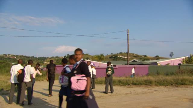 ws boys outside school / durban south africa - kwazulu natal stock videos & royalty-free footage