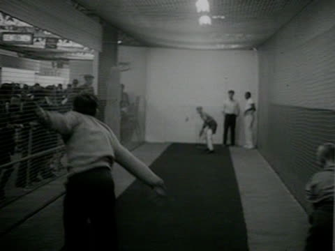 boys play indoor cricket at the boys and girls exhibition at olympia - paletto da cricket video stock e b–roll