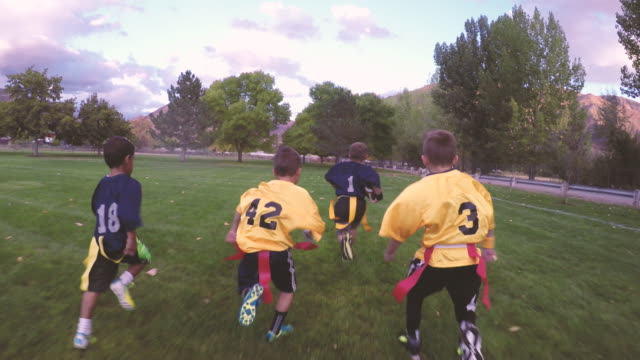 boys playing american flag football - football pitch stock videos and b-roll footage