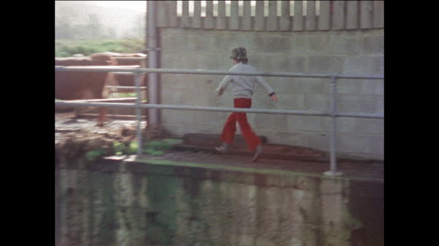 montage boys playing hide and seek on farm / man driving tractor / united kingdom - traktor stock-videos und b-roll-filmmaterial