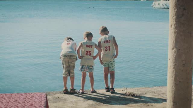 vidéos et rushes de garçons debout sur le rivage. - trois personnes