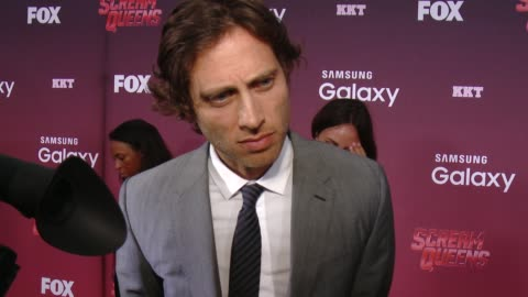 """stockvideo's en b-roll-footage met brad falchuk on if the series is scary, on horror and comedy together, and on the female cast at the """"scream queens"""" los angeles premiere & party at... - wilshire ebell theatre"""