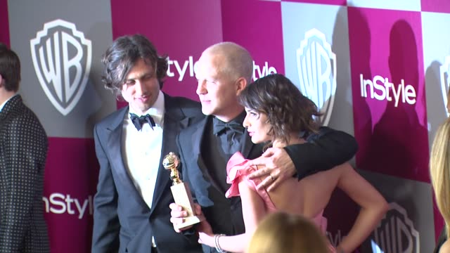 Brad Falchuk Ryan Murphy Lea Michele at the 2011 InStyle/Warner Brothers Golden Globe Awards Party at Beverly Hills CA