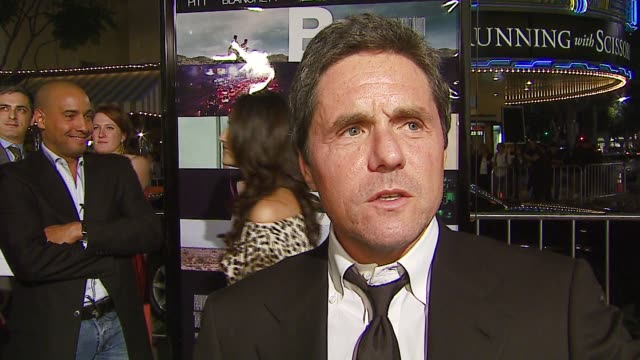 brad grey on this being the first film he greenlit at paramount, on the great cast and team behind the film, on the timliness of the film and what... - mann national theater video stock e b–roll