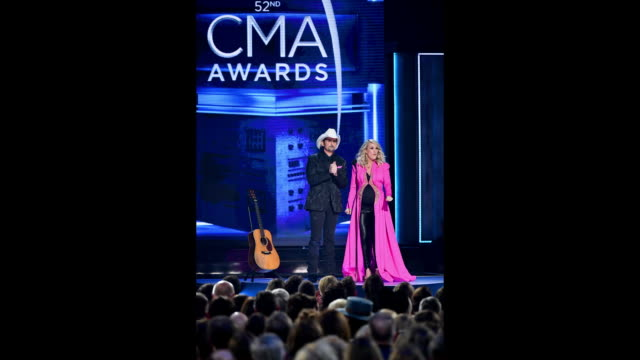 brad paisley and carrie underwood perform onstage during the 52nd annual cma awards at the bridgestone arena on november 14, 2018 in nashville,... - michael underwood stock videos & royalty-free footage