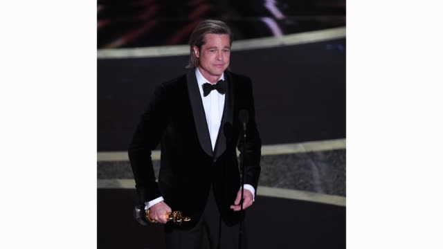brad pitt accepts the actor in a supporting role award for 'once upon a time...in hollywood' onstage during the 92nd annual academy awards at dolby... - academy awards stock-videos und b-roll-filmmaterial