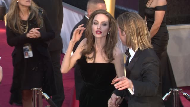 brad pitt and angelina jolie at 84th annual academy awards arrivals on 2/26/12 in hollywood ca - neckwear stock videos and b-roll footage
