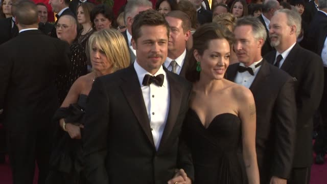 brad pitt and angelina jolie at the 81st academy awards arrivals part 3 at los angeles ca. - angelina jolie stock videos & royalty-free footage