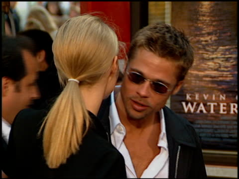 brad pitt and gwyneth paltrow at the 'waterworld' premiere at grauman's chinese theatre in hollywood, california on july 26, 1995. - tcl chinese theatre stock videos & royalty-free footage