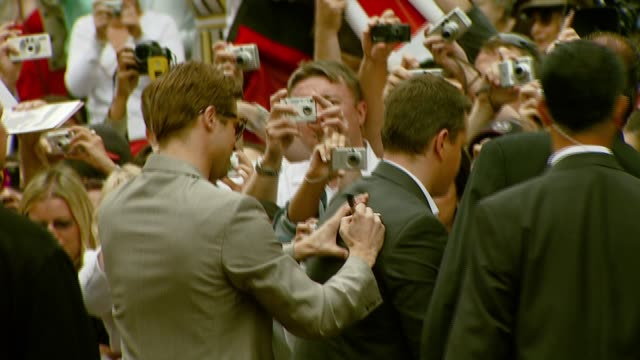 brad pitt and matt damon at the 'ocean's thirteen' handprint and footprint ceremony at grauman's chinese theatre in hollywood california on june 5... - matt damon stock videos and b-roll footage