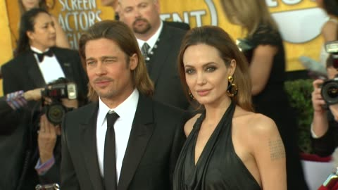brad pitt, angelina jolie at 18th annual screen actors guild awards - arrivals on 1/29/12 in los angeles, ca. - screen actors guild stock videos & royalty-free footage