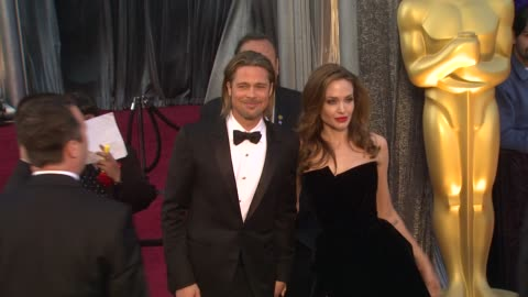 brad pitt, angelina jolie at 84th annual academy awards - arrivals on 2/26/12 in hollywood, ca. - angelina jolie stock videos & royalty-free footage