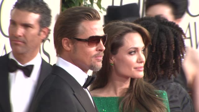 brad pitt angelina jolie at the 68th annual golden globe awards arrivals part 2 at beverly hills ca - angelina jolie stock videos & royalty-free footage
