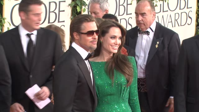 brad pitt, angelina jolie at the 68th annual golden globe awards - arrivals part 2 at beverly hills ca. - golden globe awards stock videos & royalty-free footage