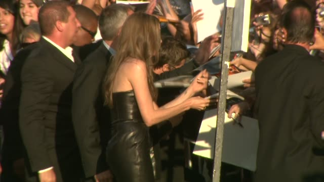 brad pitt, angelina jolie at the 'inglourious basterds' premiere at hollywood ca. - angelina jolie stock videos & royalty-free footage