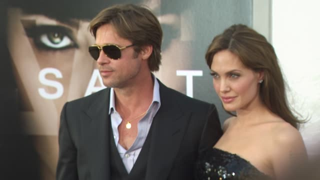 brad pitt, angelina jolie at the 'salt' premiere at los angeles ca. - première stock videos & royalty-free footage