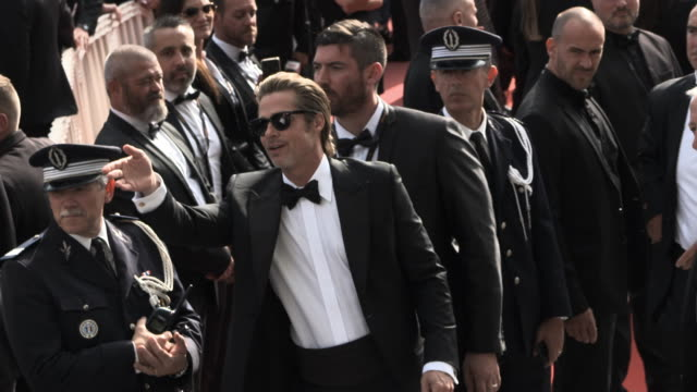 stockvideo's en b-roll-footage met brad pitt at 'once upon a time in hollywood ' red carpet arrivals the 72nd cannes film festival at grand theatre lumiere on may 21, 2019 in cannes,... - filmfestival