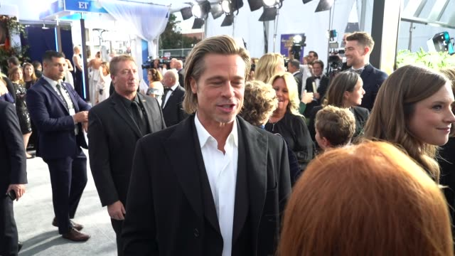 brad pitt at the 26th annual screen actors guild awards red carpet roaming at the shrine auditorium on january 19 2020 in los angeles california - 映画俳優組合点の映像素材/bロール