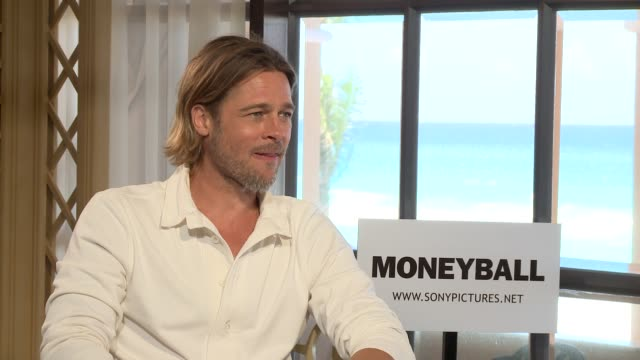 Brad Pitt at the Filming of the Junket of Moneyball