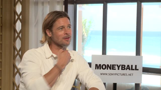 brad pitt at the junket of moneyball - interview raw footage stock videos & royalty-free footage