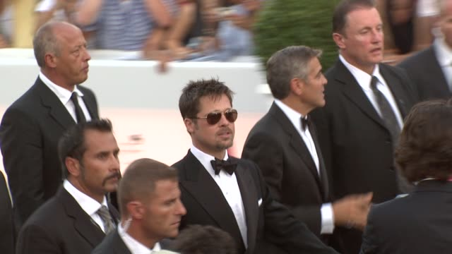 Brad Pitt George Clooney at the 65th Venice Film Festival Burn After Reading Premiere at Venice