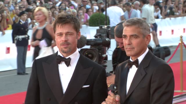 brad pitt george clooney at the 65th venice film festival burn after reading premiere at venice - 2008 stock videos & royalty-free footage