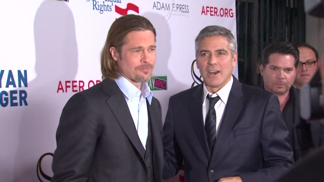 Brad Pitt George Clooney at The American Foundation For Equal Rights Broadway Impact Present 8 on 3/3/12 in Los Angeles CA