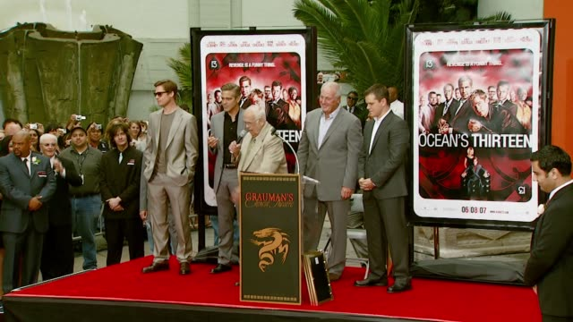 Brad Pitt George Clooney Johnny Grant Jerry Weintraub and Matt Damon at the 'Ocean's Thirteen' Handprint and Footprint Ceremony at Grauman's Chinese...