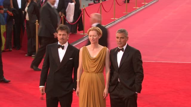 brad pitt george clooney tilda swinton at the 65th venice film festival burn after reading premiere at venice - 2008 stock videos & royalty-free footage