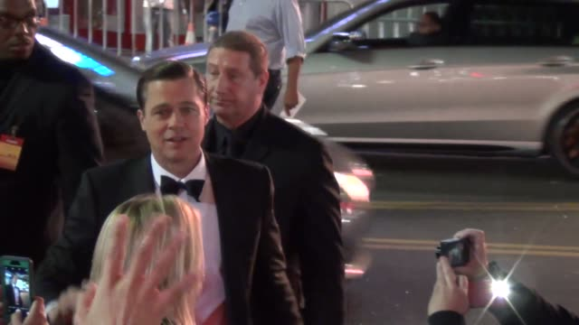 brad pitt greets fans at the afi fest 2015 presented by audi opening night gala premiere of universal pictures' by the sea at tcl chinese theatre in... - tcl chinese theatre stock videos & royalty-free footage