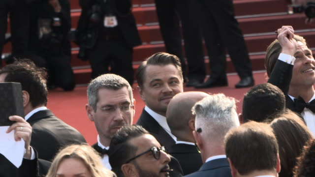 slomo brad pitt leonardo dicaprio at 'once upon a time in hollywood ' red carpet arrivals the 72nd cannes film festival at grand theatre lumiere on... - grand theatre lumiere stock videos & royalty-free footage