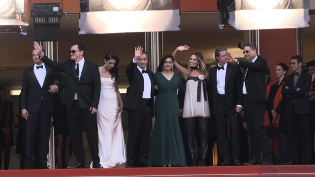 slomo brad pitt leonardo dicaprio margot robbie quentin tarantino daniela pick at 'once upon a time in hollywood ' red carpet arrivals the 72nd... - grand theatre lumiere stock videos & royalty-free footage