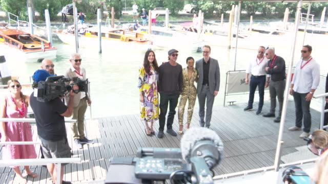 brad pitt, liv tyler, ruth negga, james gray at celebrity sightings in venice on august 29, 2019 in venice, italy. - べネチア国際映画祭点の映像素材/bロール