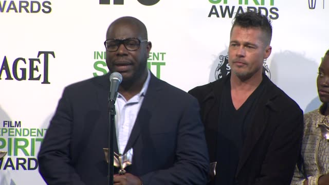 interview brad pitt lupita nyong'o and director steve mcqueen thank everyone involved for this award brad says it's interesting that it took a brit... - lupita nyong'o stock videos and b-roll footage