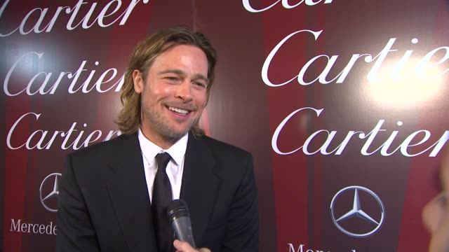 brad pitt on how it feels to be a part of the palm springs international film festival receiving the desert palm achievement award, what makes this... - interview raw footage stock videos & royalty-free footage