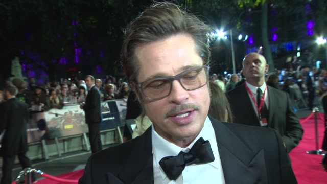 INTERVIEW Brad Pitt on how making the film making him a better dad being at boot camp with the rest of the cast at 'Fury' Closing Gala at Odeon...