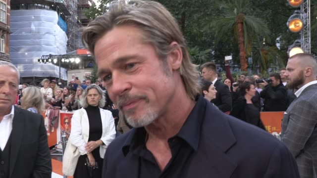 brad pitt on leonardo dicaprio and quentin tarantino at odeon luxe leicester square on july 30, 2019 in london, england. - 俳優 ブラッド・ピット点の映像素材/bロール