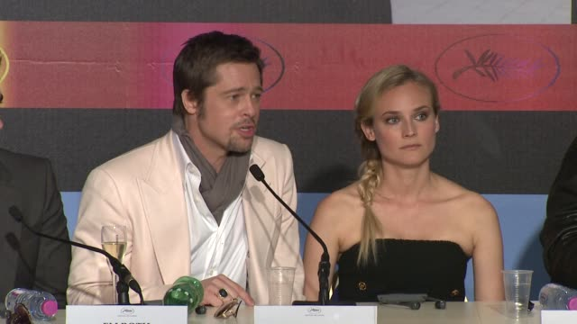 brad pitt on performing at an international level and learning from those actors at the cannes film festival 2009: inglourious basterds press... - brad pitt actor stock videos & royalty-free footage