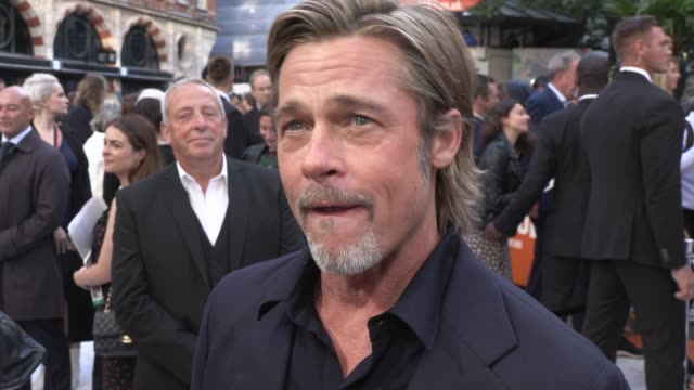 brad pitt on the backstory of the movie at odeon luxe leicester square on july 30, 2019 in london, england. - leicester square stock videos & royalty-free footage