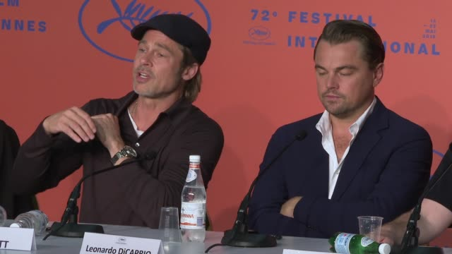 interview brad pitt on the charles manson murders at 'once upon a time in hollywood' press conference the 72nd cannes film festival at palais des... - 72nd international cannes film festival stock videos and b-roll footage