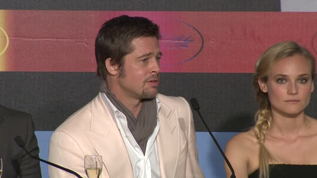 brad pitt on what makes him choose his roles and how the people he works with is one of the deciding factors at the cannes film festival 2009... - 62 ° festival internazionale del cinema di cannes video stock e b–roll