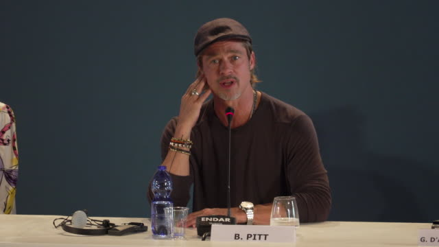brad pitt on whether he would like to go into space at ad astra - press conference - 76th venice film festival at palazzo del casino on august 29,... - べネチア国際映画祭点の映像素材/bロール