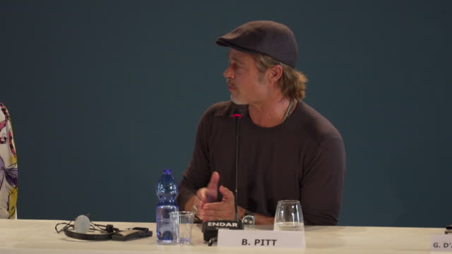 brad pitt on whether he'll get an oscar for the film and what he hope the reactions to the film are at ad astra - press conference - 76th venice film... - 俳優 ブラッド・ピット点の映像素材/bロール