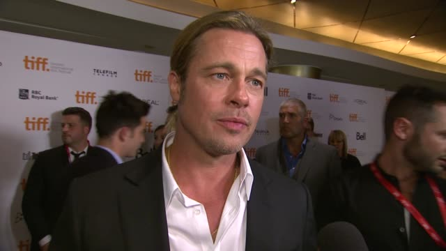 brad pitt on why it was important for him to be a part of the production, and on the issue of racial bias today at '12 years a slave' premiere - 2013... - interview raw footage stock videos & royalty-free footage