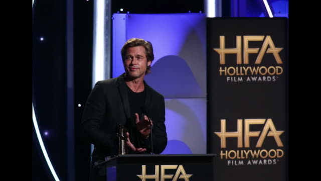 brad pitt speaks onstage during the 22nd annual hollywood film awards at the beverly hilton hotel on november 4 2018 in beverly hills california - brad pitt attore video stock e b–roll