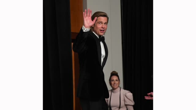 "brad pitt, winner of the actor in a supporting role award for ""once upon a time…in hollywood,"" waves in the press room during the 92nd annual academy... - brad pitt actor stock videos & royalty-free footage"