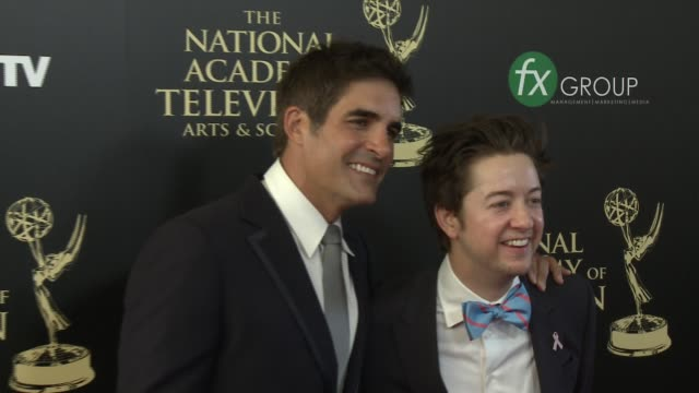 bradford anderson and galen gering at the 2014 daytime emmy awards at the beverly hilton hotel on june 22, 2014 in beverly hills, california. - the beverly hilton hotel点の映像素材/bロール