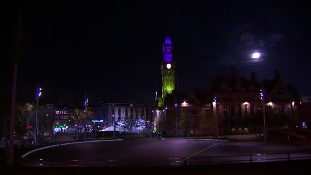 bradford city centre at night - clock tower stock videos & royalty-free footage